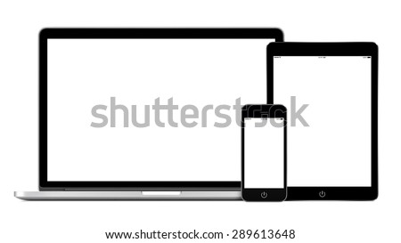 Set of modern technology devices template for responsive design presentation. Mockup consist of laptop, smartphone and tablet pc. Isolated on white background. - stock photo