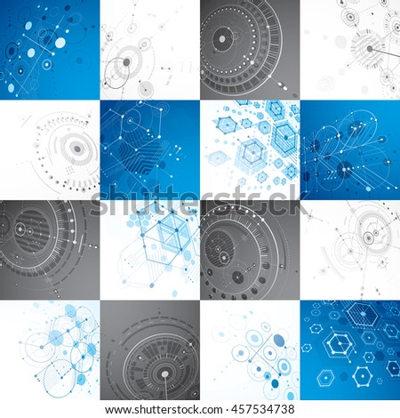 Set of modular Bauhaus 3d backdrops, created from geometric figures like hexagons, circles and lines. For use as advertising poster or banner design. Perspective abstract mechanical schemes. - stock photo