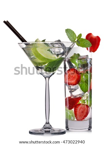 Set of mojito cocktails with mint, lime and strawberry isolated on white background.