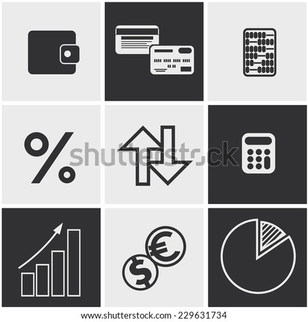 Set of money, finance, banking icons black and white color. Raster version - stock photo