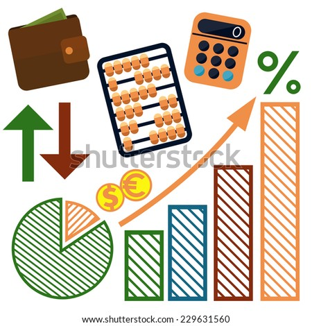 Set of money, finance, banking icons cartoon design style. Raster version - stock photo