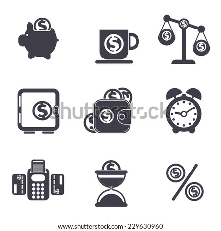 Set of money, finance, banking icons in black color. Raster version - stock photo