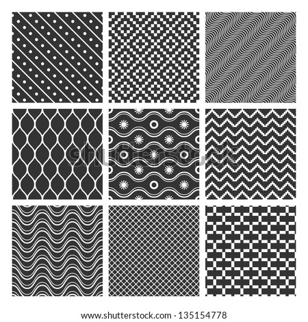 Set of monochrome geometric seamless patterns textures. See also vector version
