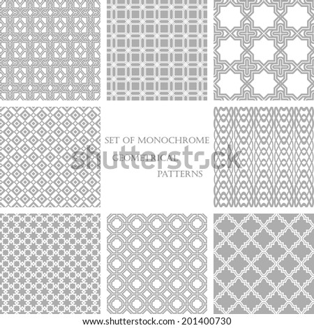 Set of 8 monochrome geometrical patterns. White, gray grille texture in Arabic, Oriental style. A seamless background.