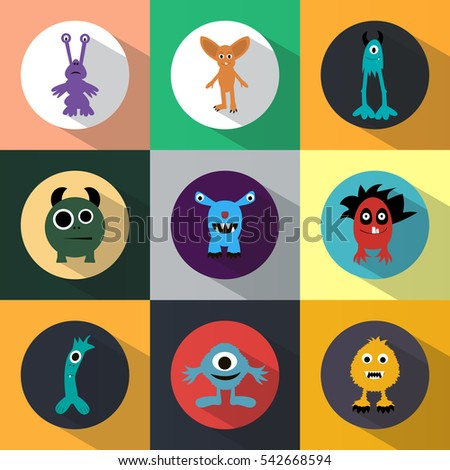 Set of monster icons. Halloween. Funny. Round. Light Coloured. Flat design.
