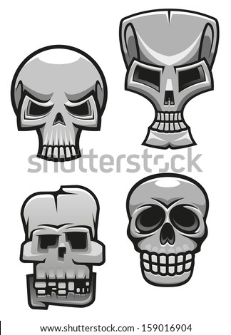 Set of monster skull mascots for tattoo or halloween design. Vector version also available in gallery - stock photo