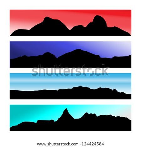 Set of Mountain Scenery - stock photo
