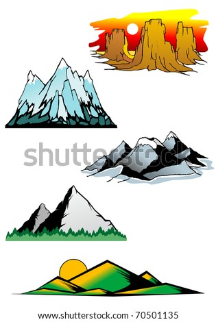 four seasons mountain icons stock vector 69742654. Black Bedroom Furniture Sets. Home Design Ideas