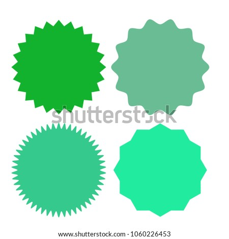 set of multicolor blank labels various shape sunburst starburst badges and labels template for