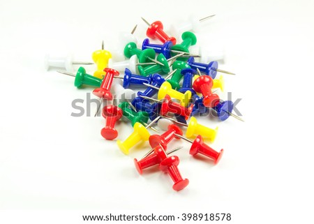 Set of multicolor push pins isolated on white background. - stock photo