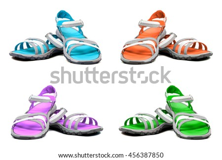 Set of multicolor summer sandals. Isolated on white background.