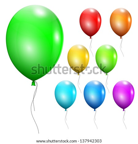 Set of multicolored balloons. Raster version.
