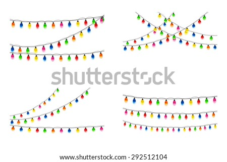 Set of multicolored Christmas light bulbs hanging on white background, illustration. - stock photo