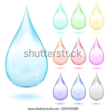 Set of multicolored drops with shadows on white background. Raster version. - stock photo