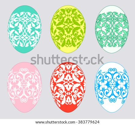 Set of multicolored Easter eggs on a gray background - stock photo