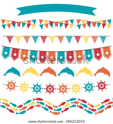 Set of multicolored flat sea buntings garlands flags isolated on white background - stock photo