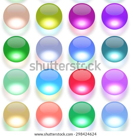 Set of multicolored glass spheres with shadows on white background