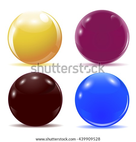 Set of multicolored glossy balls. Raster illustration. - stock photo