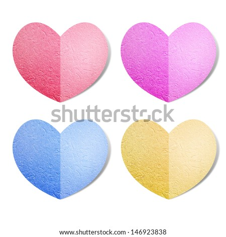 Set of multicolored heart recycled paper - stock photo
