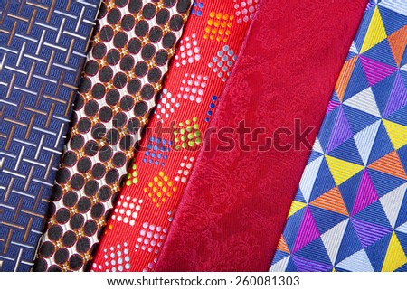 Set of multicolored men's neckties