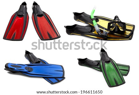 Set of multicolored swim fins, mask and snorkel for diving. Isolated on white background. - stock photo
