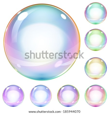 Set of multicolored transparent soap bubbles on white background. Raster version. - stock photo
