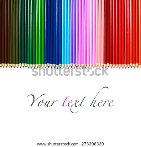 Set of multicolored wooden pencils with copy space on white background - stock photo
