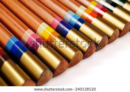 Set of multicoloured pencils - stock photo