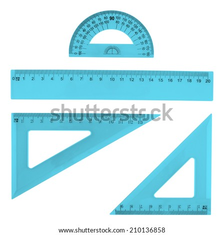 Set of multiple blue plastic rulers and the protractor, isolated over the white background - stock photo