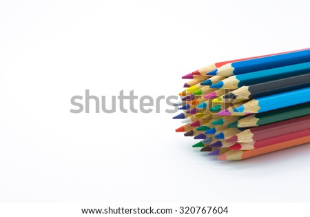 Set of multiple colour pencil on white background - stock photo