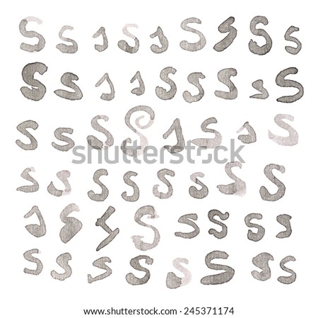 Set of multiple hand drawn with black watercolor ink S letters isolated over the white background - stock photo