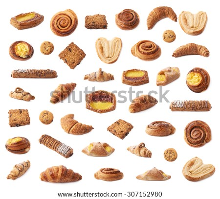 Set of multiple sweet bread bun pastry and cookies in different foreshortenings, isolated over the white background