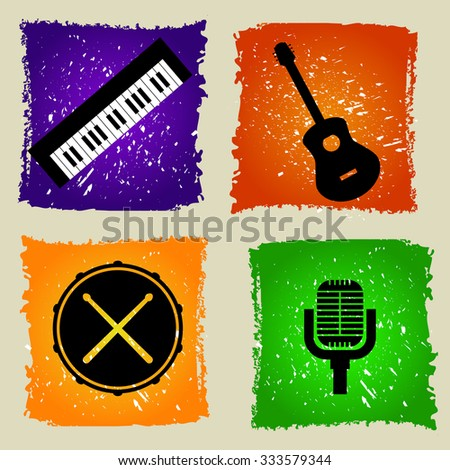 Set of  music icons in flat design on colorful grunge background. Guitar. Drums. Microphone. Keyboard - stock photo