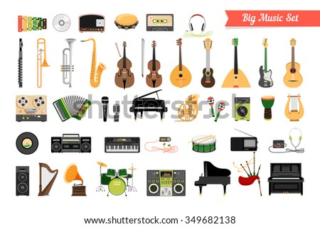 Set of Music Instruments - stock photo