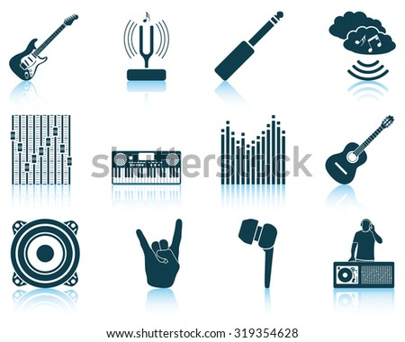 Set of musical icons. Raster illustration. - stock photo
