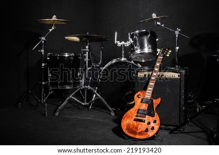 Set of musical instruments during concert - stock photo