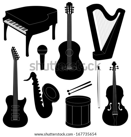 Set of musical instruments silhouettes isolated on white. Raster version. - stock photo