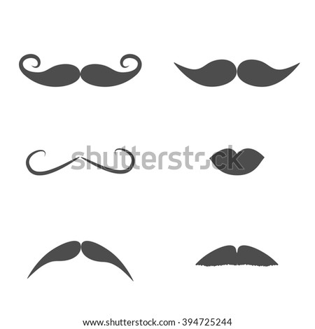 Set of mustaches and lips on white background. Isolated. Flat design