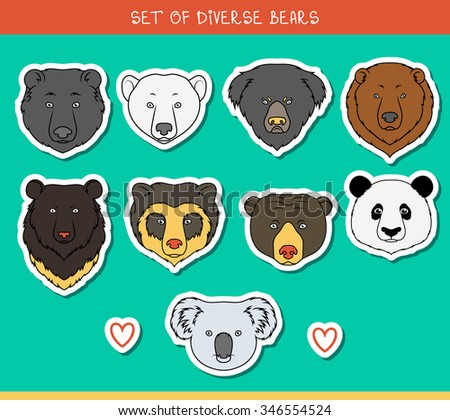 Set of 9 muzzles stickers bears handmade in linear style - stock photo