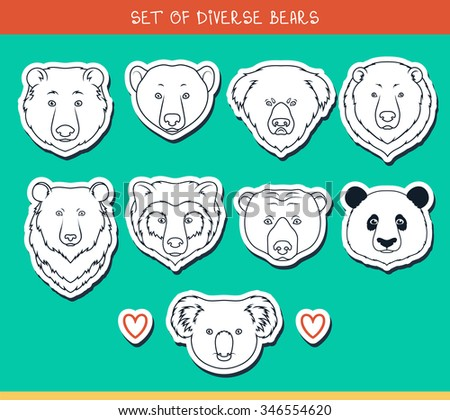 Set of 9 muzzles stickers bears handmade in linear style. Faces  Asiatic  Panda, koala - stock photo