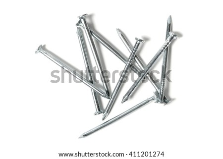 Set of nails isolated on white background - stock photo