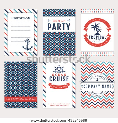 Set of nautical and marine banners. Card templates in white, blue and red colors. Sea theme. Raster version.  - stock photo