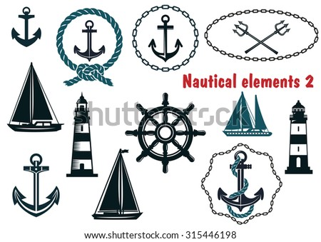 Set of nautical heraldry themed design elements with assorted anchors, crossed tridents, sailboat, yacht, two lighthouses, ships wheel, schooner, rope and chain frames - stock photo