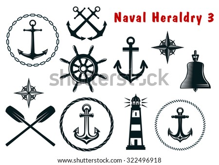 Set of naval heraldry icons with assorted marine anchors crossed oars ship wheel compass lighthouse and bell - stock photo