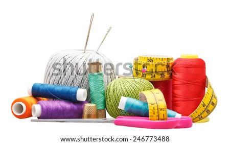 set of needlework objects isolated on white background - stock photo