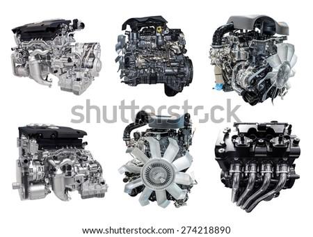 set of new car engine isolated on white background - stock photo