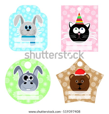 Set of New Year and Christmas labels. Labels with animals on the background of snowflakes. Place on your text or advertisement