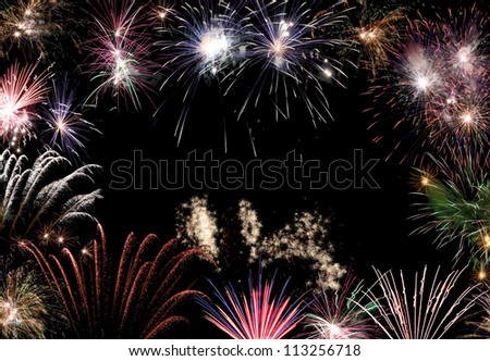 Set of new year fireworks in composition - stock photo