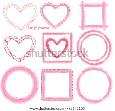 Set New Year Frames Form Hearts Stock Illustration 795642103 ...