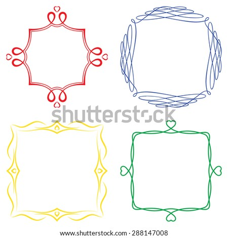 Set of nice decorative colorfed frames with ornament. Raster version - stock photo